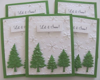 Christmas Tree Cards, Let it Snow Card Set, Holiday Card Set, Christmas Trees, Holiday Cards, Merry Christmas,Embossed Cards, Set of 5, Tree