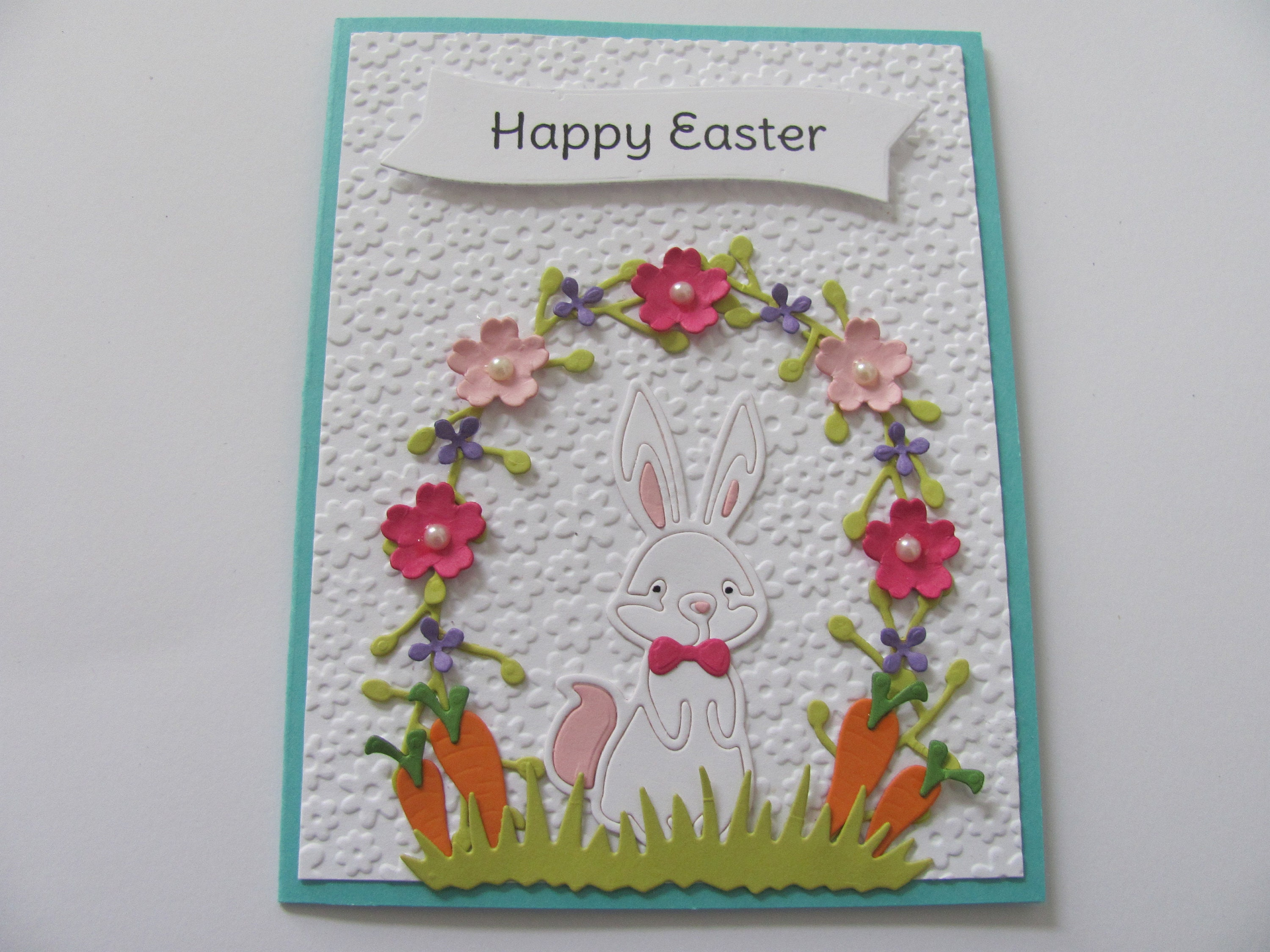 Easter Bunny Card, Easter Card, Happy Easter Bunny Card, Bunny Cards, Spring Celebrations, Embossed Easter Card, Bunny Rabbit Easter Card
