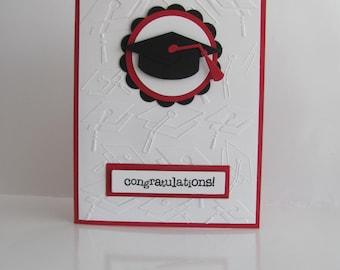 Graduation Cap Card, Graduation Cap Card,Red, Black, Embossed Graduation Cap Cards, Customized School Colors