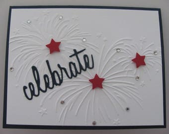 4th of July Card, Patriotic Cards, Independence Day Card, Fireworks Card, Embossed Fireworks Card, Celebration Card, Fourth of July