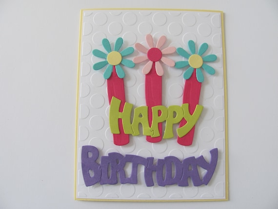 Happy Birthday Flower Candle Card