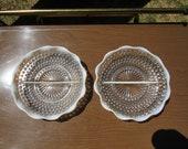 Hobnail Moonstone Dish, 2 Round Divided Hobnail Moonstone Dishes, 2 Round Divided Opalescent Hobnail dishes