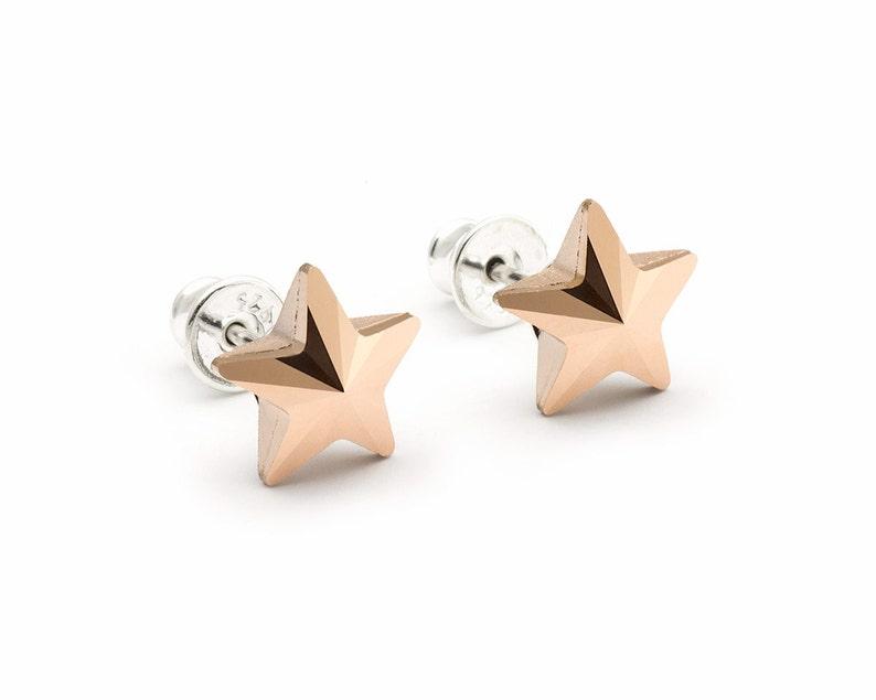 53042e1e9 Rose Gold Star Stud Earrings Swarovski Crystal Post Earrings | Etsy
