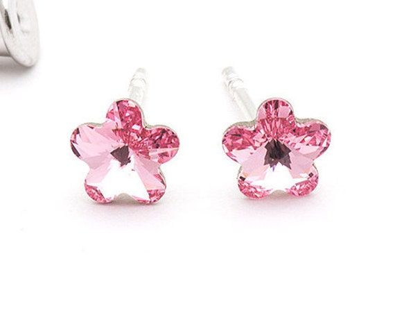Tiny Swarovski Flower Stud Earrings Pink Stud Earrings Blue  7621dc6ed