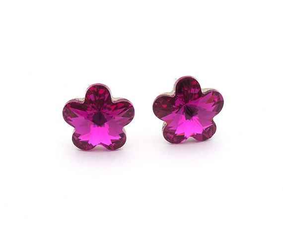 Swarovski Flower Earrings Flower Stud Earrings Pink Earrings  07165b72f