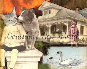 NEW Print, Collage, Mixed Media, Cat, Dog, Anthropomorphic Animal Art, Print - The Guardian of Lucine  -