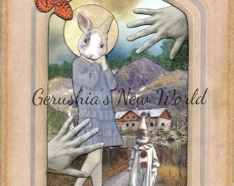 NEW To Print - The Guardian of Alouette's First Hymn -  Anthropomorphic Art, Collage, Mixed Media, rabbit, Story Art, Animal Art, Print