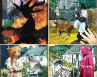 NEW - Welsh Mythology Print Set - Analog Collage Print Set, Cut and Paste Collage, Mixed Media, Wales