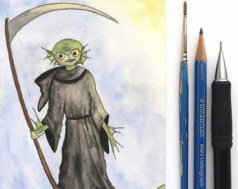 Clementine the Reaper/Creature.  Day 5 & 6 of Mab Graves Drawlloween Club.  Original, Watercolor, Halloween Art