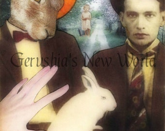 The Guardian of the Wrabbit Wranglers - Anthropomorphic, Watercolor, Collage, Fairy Tale Art, Animal Art, Print