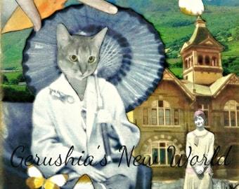 Mixed Media, Cat, Anthropomorphic, Animal Art, Print - The Edge of Ashes