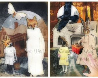 NEW - Let's Gather the Stars and Marvalee's Basket of Hopes Print Set - Anthropomorphic, Collage, Mixed Media, rabbit, fox, Animal Art