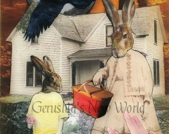 Marvalee's Basket of Hopes (Tiny Tale Art) ~ Anthropomorphic, Collage, Fairy Tale Art, Print