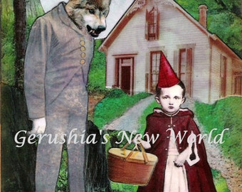 An Unexpected Visitor - Anthropomorphic,Collage, Print, Little Red Riding Hood, Fairy Tale Art