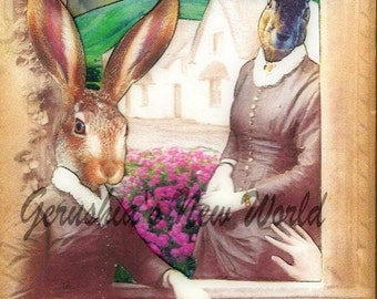 The Window Watchers -  Anthropomorphic Collage Print, Mixed Media, Rabbit, FairyTale Art