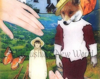 Jubal's Huckleberry Heart -  Anthropomorphic, Collage,  Print,  Fairy Tale Art, Mixed Media, Fox