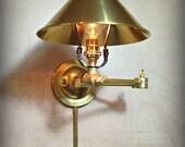 Swinging Adjustable Wall Light - Industrial Sconce - Reading Gold Light - Mid Century - Modern - Articulating - Boom Light - Bathroom Vanity