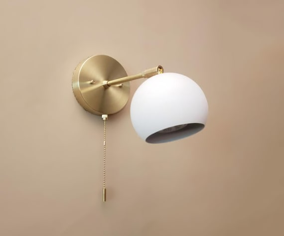 Pull Chain Adjustable Wall Light Gold And White Modern Etsy