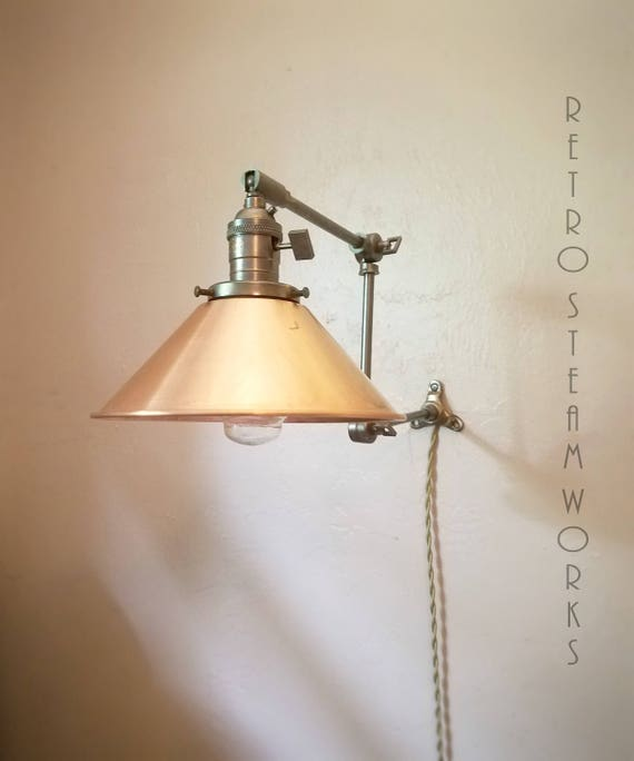 info for f8a4b ab930 Articulating Wall Sconce Industrial Light - Hand Aged Brass & Copper Shade  Modern Sconce Lamp
