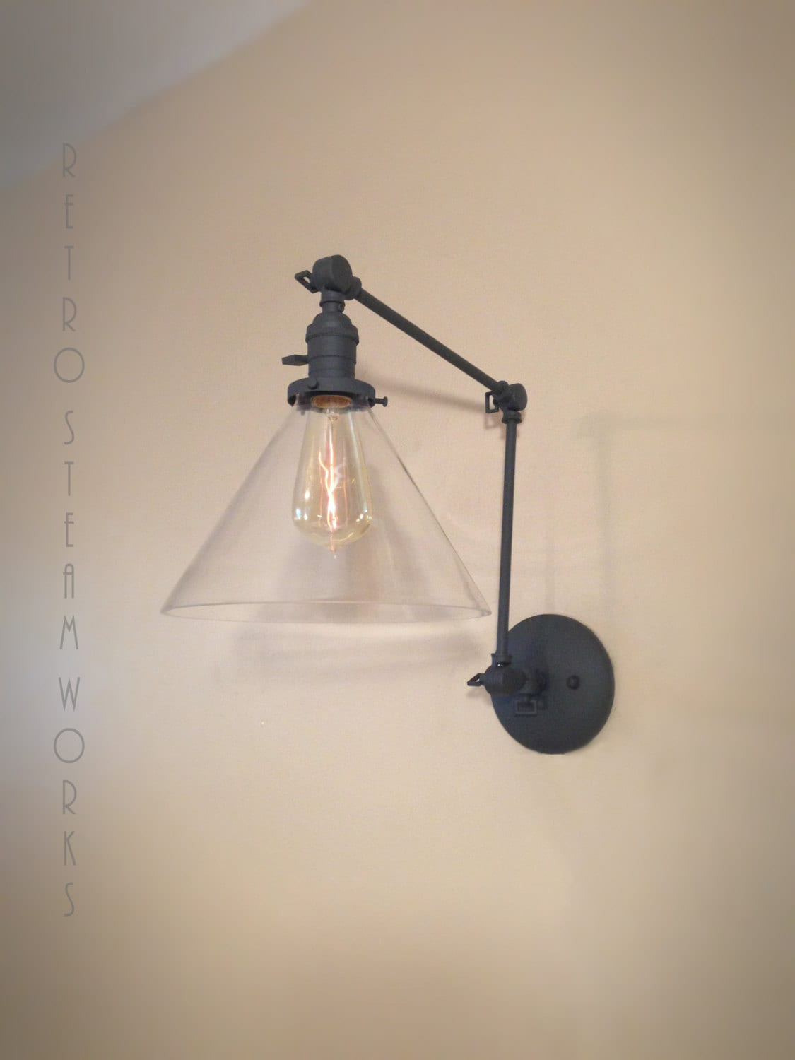 Swinging Articulating Wall Mount Lamp Custom Finished