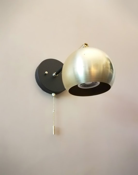 Pull Chain Adjustable Wall Light Gold And Black Modern Etsy