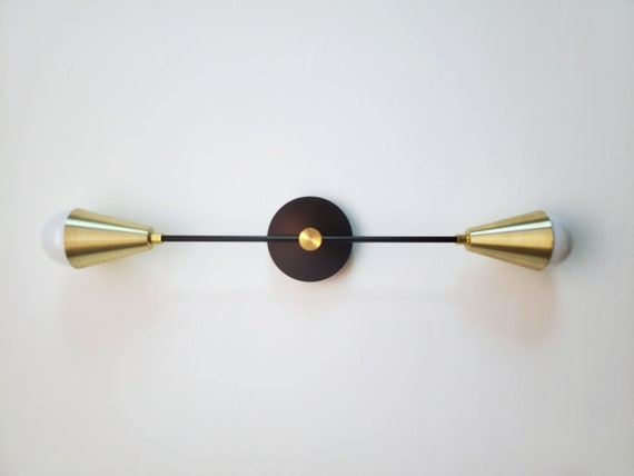 Modern Wall Sconce Mid Century Wall Light Gold and Matte Black Loft Sconce Linear Vanity Light Modern Bathroom Sconce Art Lighting