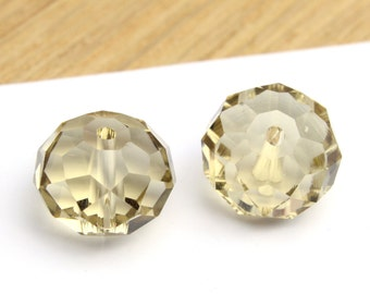 Faceted Jonquil Yellow Donut Swarovski Crystals 10x14mm 2pcs