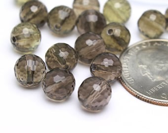 Smokey Topaz Faceted Round Shaped Beads 8mm 6pcs