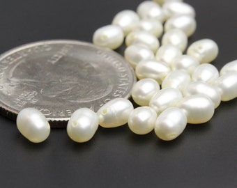 White Freshwater Rice Pearls Approx. 4x6mm 10 pcs Top Side Drilled