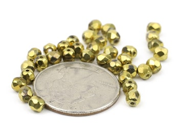 Gold Faceted Fire Polished 4mm Crystal Beads 24pcs