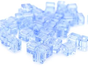 Vintage Blue Cube Beads, Tiny Cube Beads 4mm 12pcs