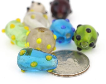 Assorted Shaped and Shades of Speckled Lampwork Beads Mixed Lot of Lampwork Beads 8pcs