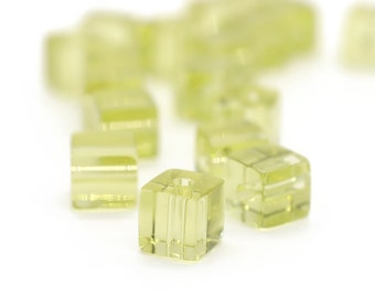 Smooth Cube Beads D287 24 Vintage Glass Yellow Citrine Handmade 7mm