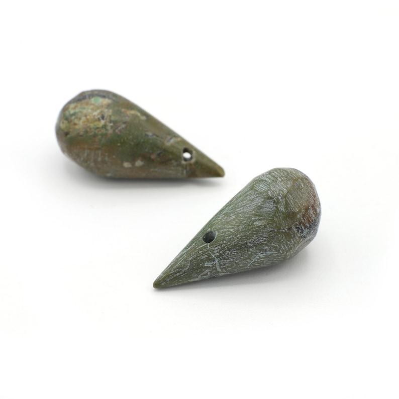 Genuine Turquoise Briolettes Large Teardrop Shaped Stones 25mm 2pcs