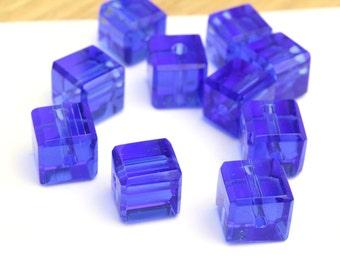 Vintage Cobalt Blue Cubes 8x8mm 12pcs
