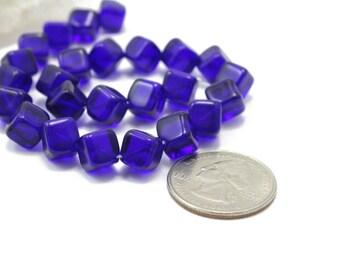 Vintage Cobalt Blue Cubes 1 Strand 8x8mm 25 Beads