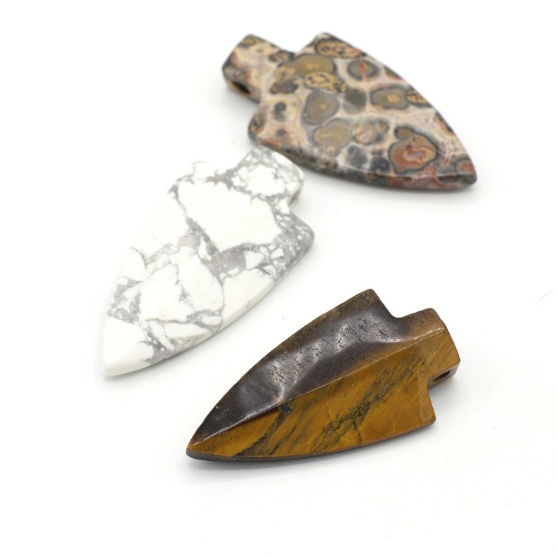 Assortment of 3 Arrowheads Gold Plated Brass Wrapped Gemstone Arrow Arrowhead