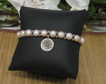 Om Sterling Silver Charm on Freshwater Pearl Bracelet with Crystals