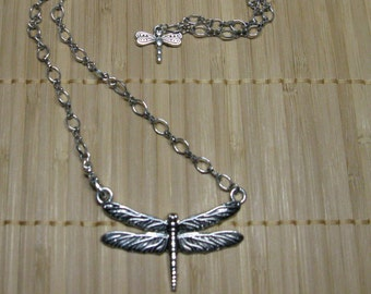 Dragonfly Necklace, Front Closure, Mini Dragonfly in back
