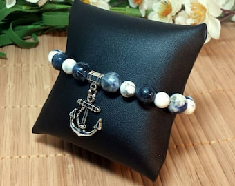 Hello, Sailor Gal! Anchor Charm Bracelet with Sodalite and Howlite Beads