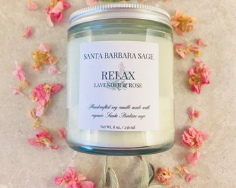 Lavender Rose & Grapefruit Soy Candle by Santa Barbara Aromatics | Gift for Women | Essential Oil Candles | Gift for Mom | Bridesmaid