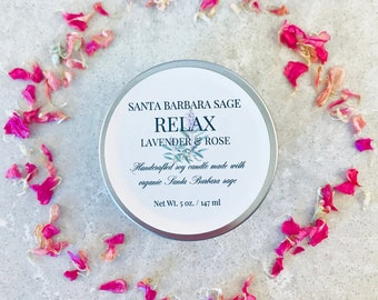 Lavender Rose & Grapefruit 5oz. Soy Candle by Santa Barbara Aromatics | Gift for Women | Essential Oil Candles | Gift for Mom | Bridesmaid