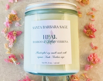 Bamboo & Lemon Verbena Soy Candle by Santa Barbara Aromatics | Gifts for Women | Gift for Mom | Bridesmaid Gift | Essential Oil Candles
