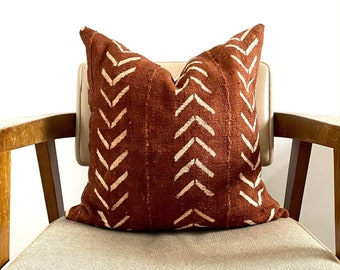 Mudcloth Throw Pillow Cover Light Rust Color with Aztec Details /'ABIOYE/'