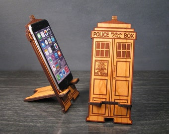 Doctor Who TARDIS Phone Stand Docking Station Works Universal Stand Will Work With iPhone 6 Galaxy 6 and Any Phone With Bottom Plug