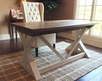 The Holly - Handcrafted X Base Desk - Farmhouse Modern Desk with Optional Drawers - Office Table Workspace - Trestle Desk