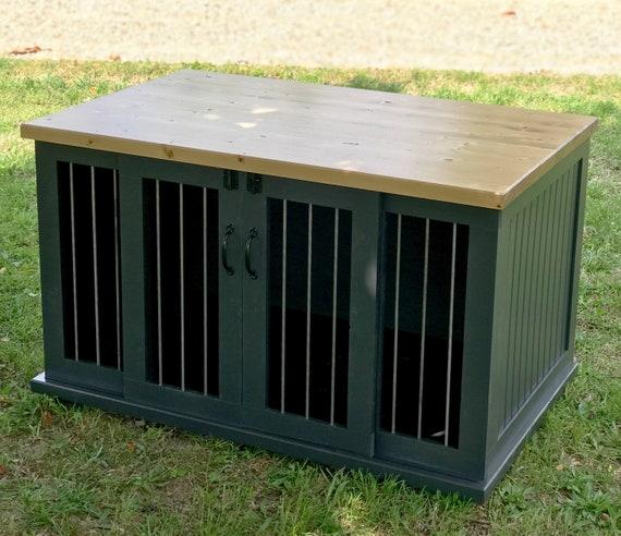 Custom Dog Kennel Dog Crate Furniture Double Sliding Door Etsy