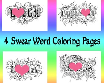 Swear Word Coloring Book Pages Curse Cuss Instant Download Adult Printable