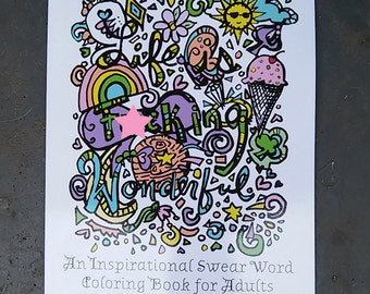 Sale Swear Word Coloring Book Curse Word 24 Pages Cuss Word Etsy