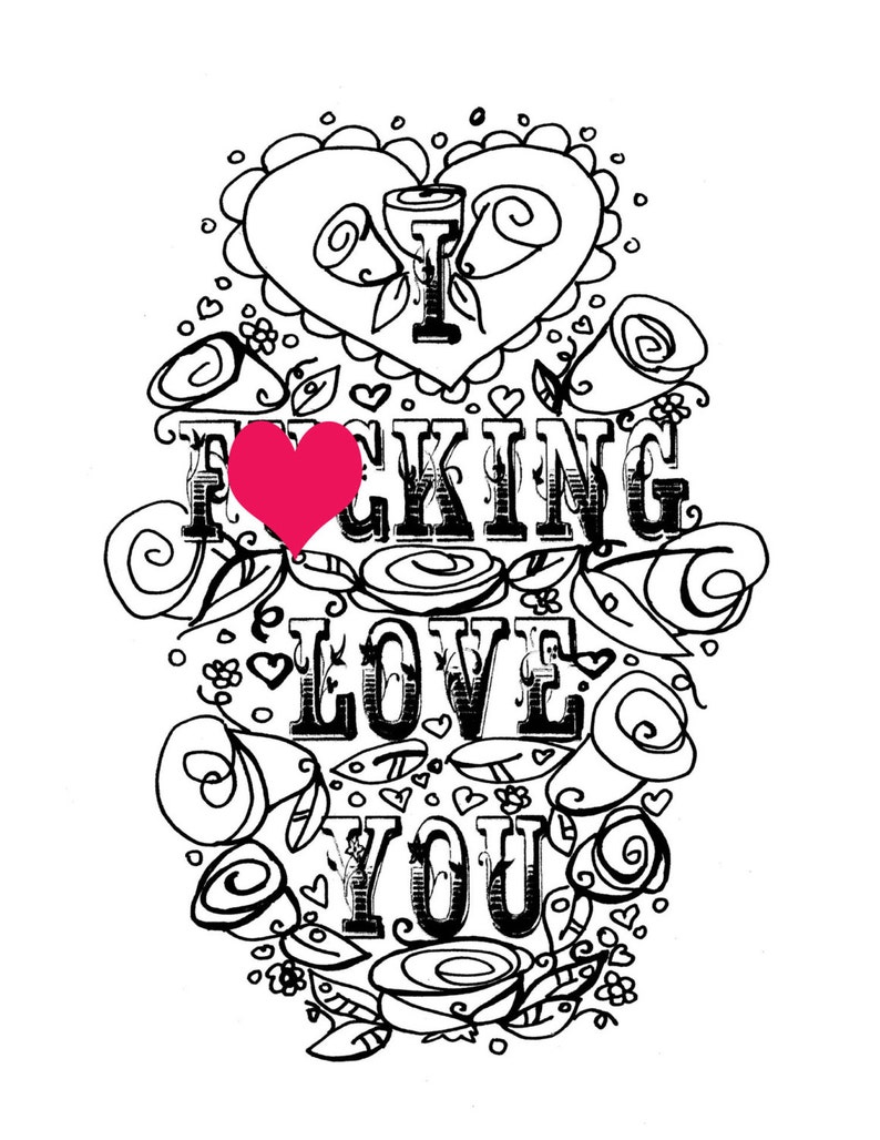 Adult coloring page valentines day curse swear sheet etsy